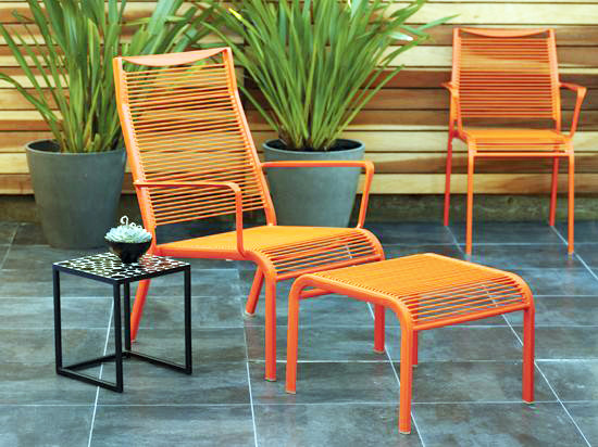 Bright Orange Powder Coated Lawn Chair