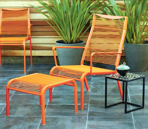 Picture of a Orange Powder Coated Lawn Chair